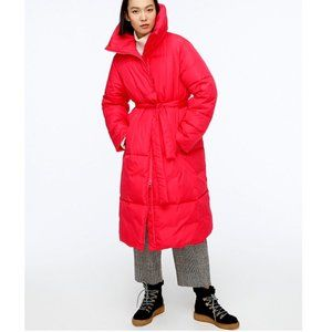 J. Crew Belted Puffer Coat Bright Rose NWT 00 XXS